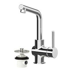 Add a modern touch to your bathroom with the LUNDSKÄR faucet with strainer. It comes with an IKEA 10-year Limited Warranty and you can save up to 50% water as the faucet has a mechanism that reduces water flow while maintaining pressure!