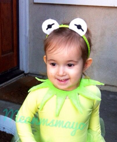 Kermit the Frog Muppet Eyes Green Headband and Point Collar (fits kids and adults) on Etsy, $14.00