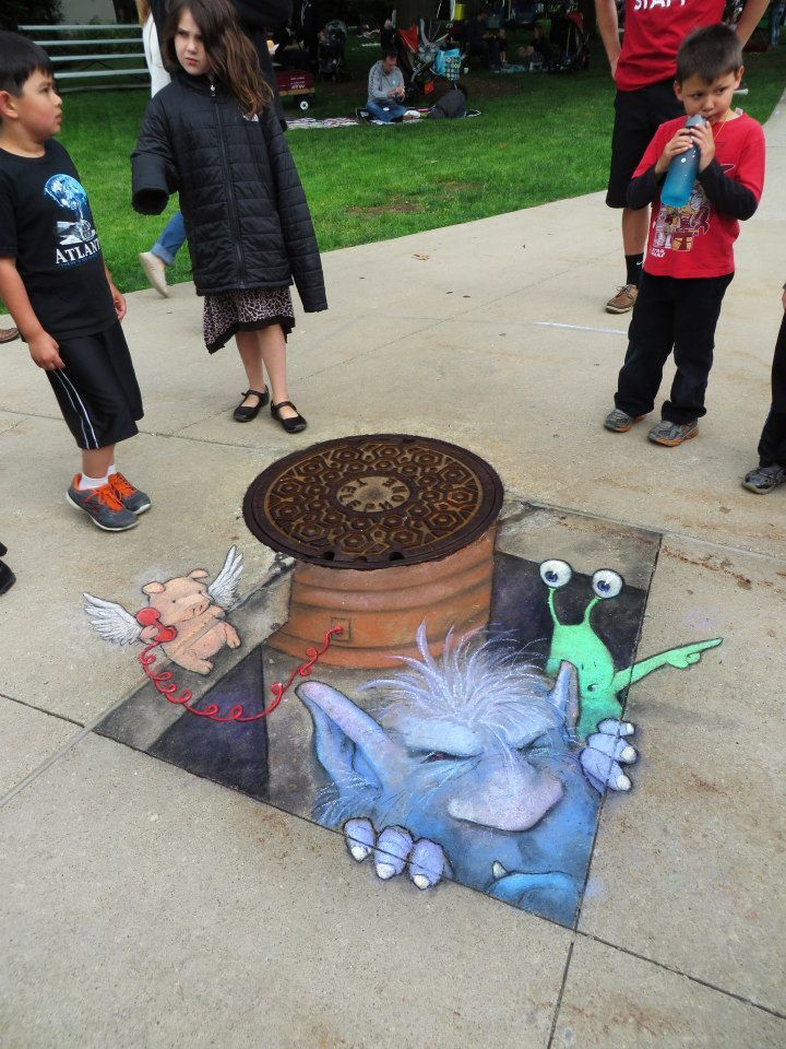 David Zinn (June 2014) - Sluggo and his pigasus arrive at the Ann Arbor Summer Festival, bearing new friends and corded technology.