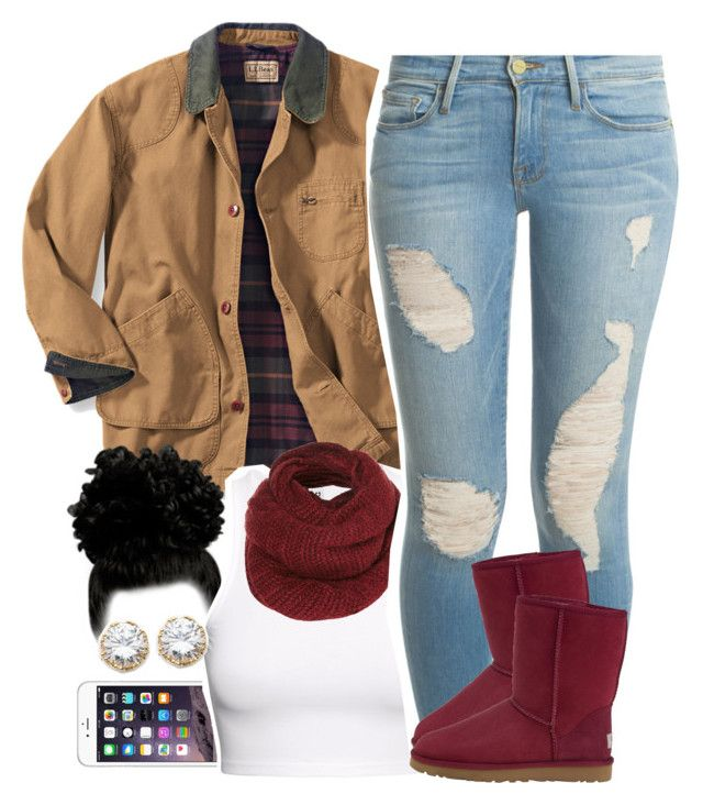 """""""Untitled #1536"""" by lulu-foreva ❤ liked on Polyvore featuring H&M, Topshop, Frame Denim, UGG Australia and Kenneth Jay Lane"""