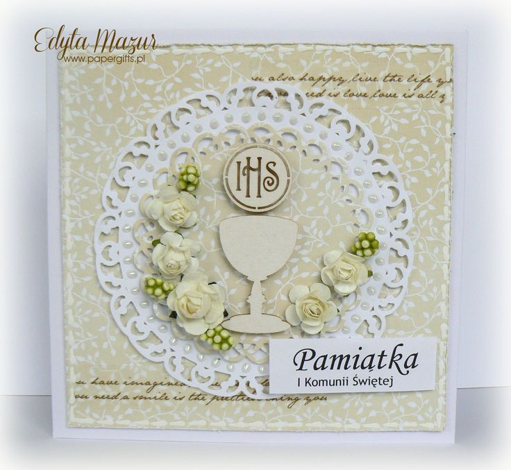 Beige with chalice and white roses - Souvenir Holy Communion - Scrapbook.com