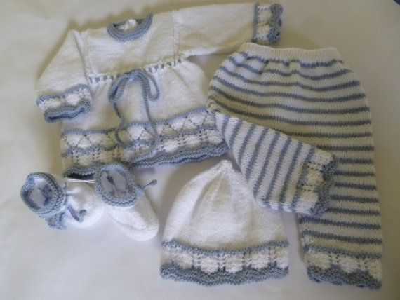 Knitted Baby Girl Set FOUR PIECES  Antiallergic Yarn by Pitusa, $73.00