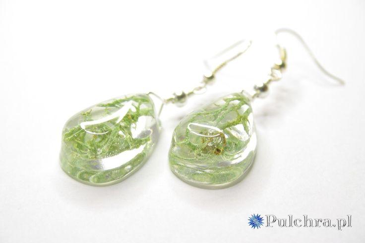 Kolczyki : Kolczyki z żywicy z porostami / Resin earrings with lichens.