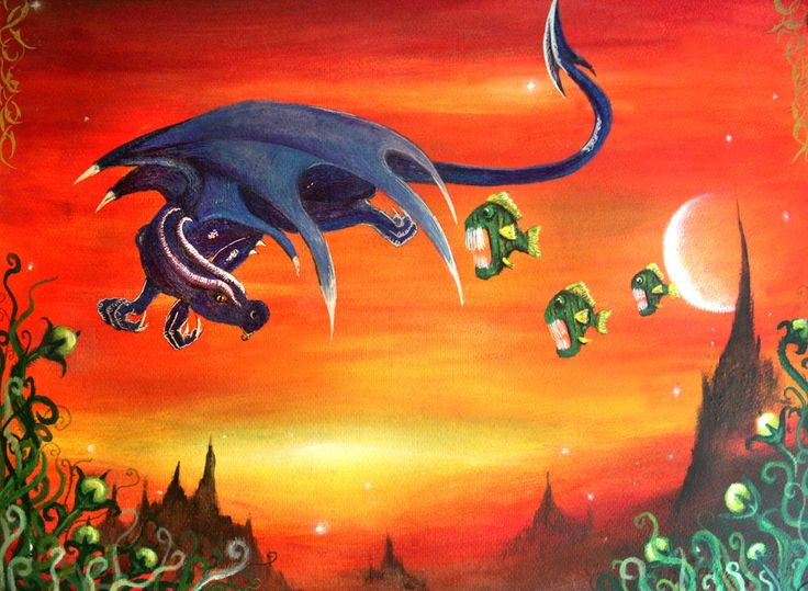 Penelope the purple dragon, floats in cyber space as the space piranhas try nip at her tail...this ones from 2005 I think.. was a while back but makes me smile x http://immortalart.co.za/