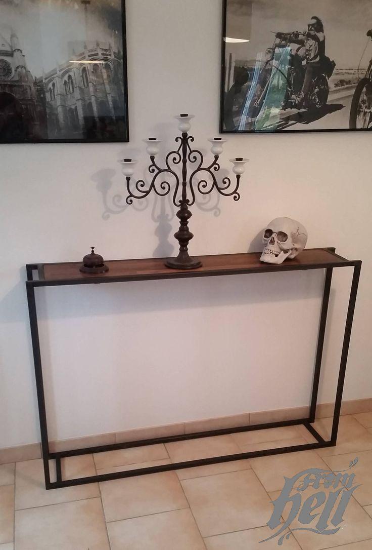 17 meilleures id es propos de console bois metal sur pinterest meuble metal console tv. Black Bedroom Furniture Sets. Home Design Ideas
