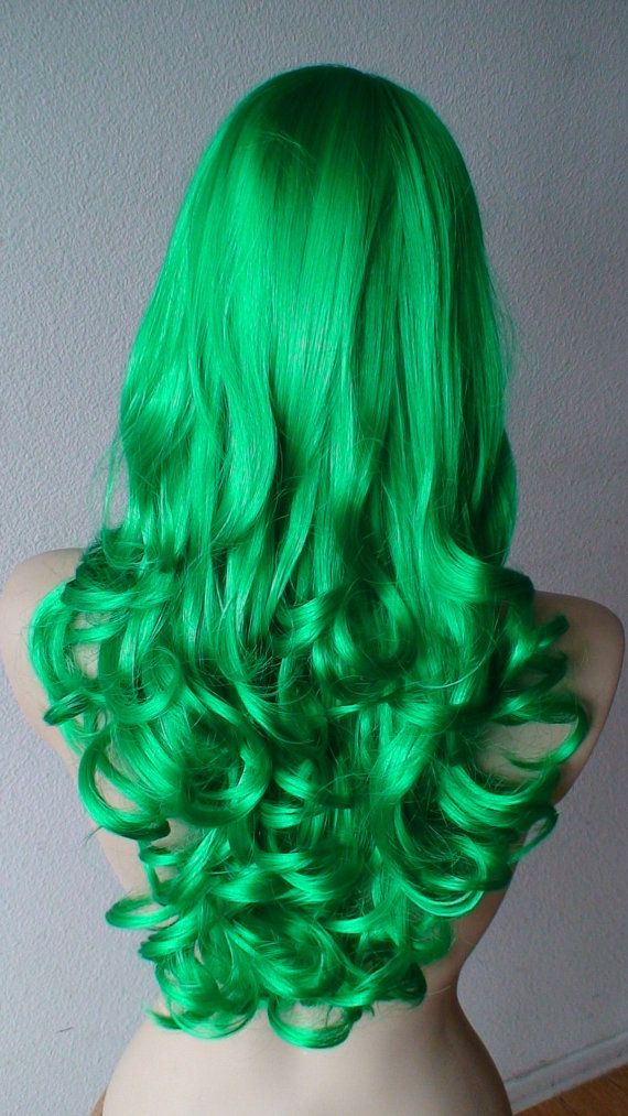 Summer Special // Green wig. Long Curly wig. Irish by kekeshop: $54.45. LOVE this green color wig! Would be fun!