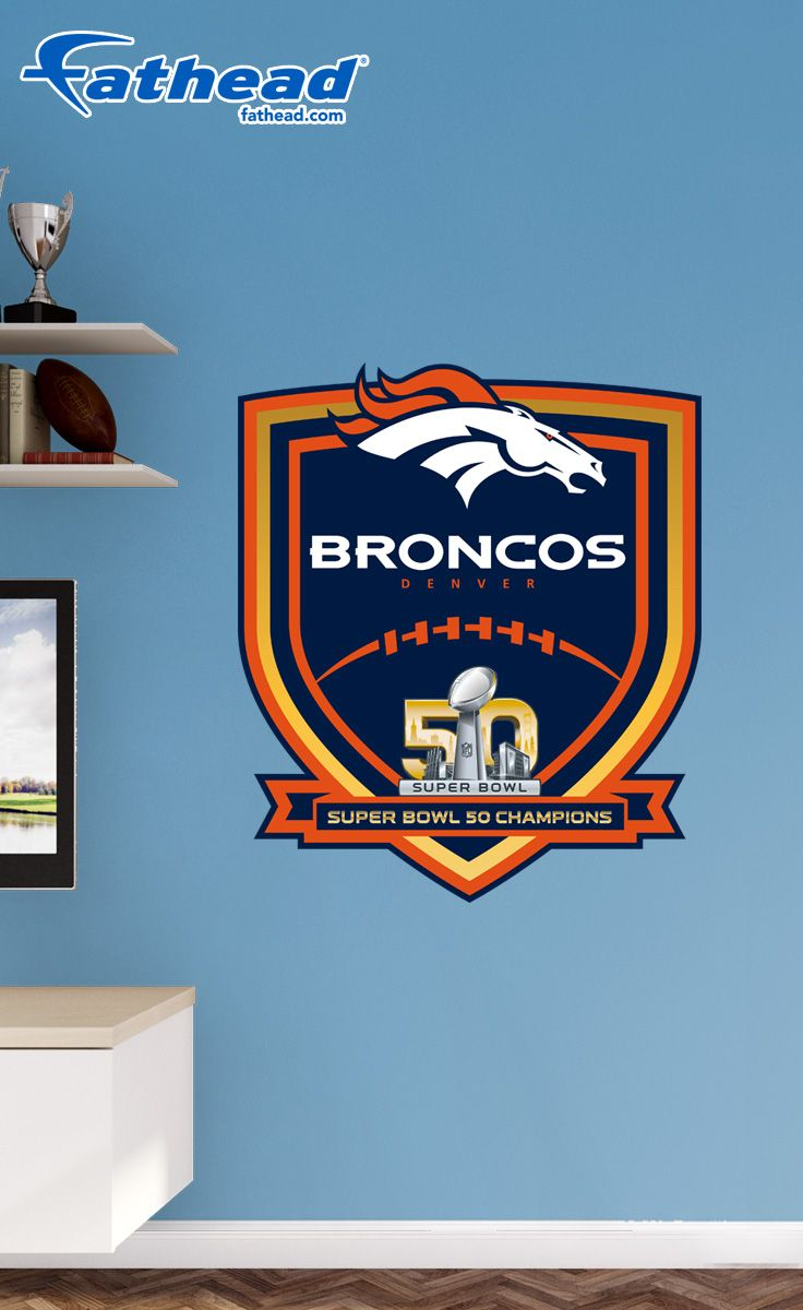 DIY Wall Decal | Celebrate the Denver Broncos' third Super Bowl win in style with this Denver Broncos Super Bowl 50 Champions Logo. These Broncos Super Bowl Champs wall decals are great for fan dens for watching every Broncos game. Forget Broncos Super Bowl posters; get a Denver Broncos Fathead wall decal! SHOP http://www.fathead.com/nfl/denver-broncos/denver-broncos-super-bowl-50-champions-logo-wall-decal/ | DIY Kids Bedroom Decor | Custom Decals | Man Cave