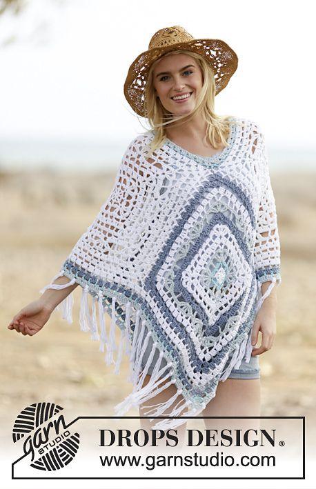 Bohemian Blues Poncho By DROPS Design - Free Crochet Pattern - (ravelry) ༺✿ƬⱤღ  http://www.pinterest.com/teretegui/✿༻