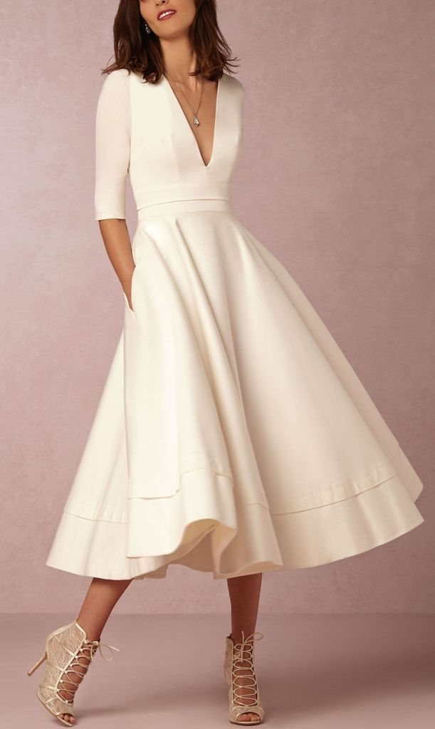 0c01b21f218 White V Neck Half Sleeve Foam Scuba Skater Midi Dress trends 2019 -  Dankeskarten Hochzeit 2019 -