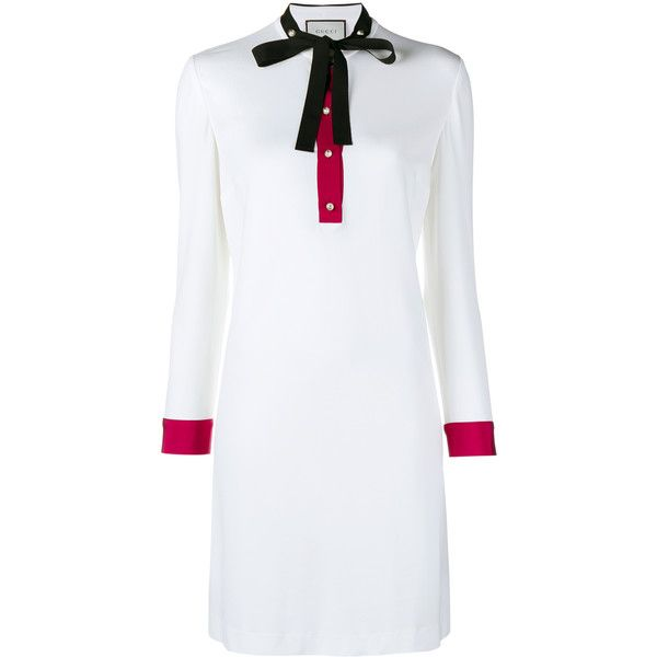 GUCCI Shirt Shift Dress (18.704.100 IDR) ❤ liked on Polyvore featuring dresses, white button dress, gucci, collared shift dress, round neck dress and gucci dress