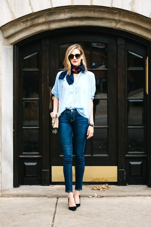 Le Fashion Blog Blogger Style Sunglasses Silk Neck Scarf Oversized Blue Button Down Shirt Nude Chanel Bag Skinny Jeans Black Pumps Via See Anna Jane