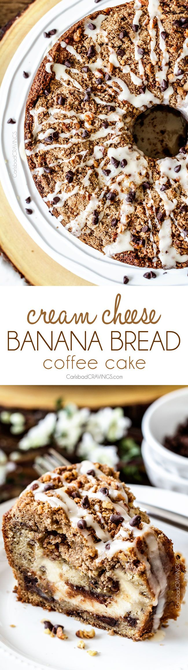 The best Banana ANYTHING ever! Moist Banana Coffee Cake riddled with chocolate chips and walnuts (optional) with an INCREDIBLY creamy cheesecake-like cream cheese filling all topped with brown sugar walnut streusel and vanilla drizzle.: