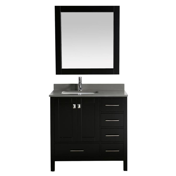 """Design Element London 36"""" Vanity in Espresso with Quartz Vanity Top in Gray with White Basin and Mirror"""