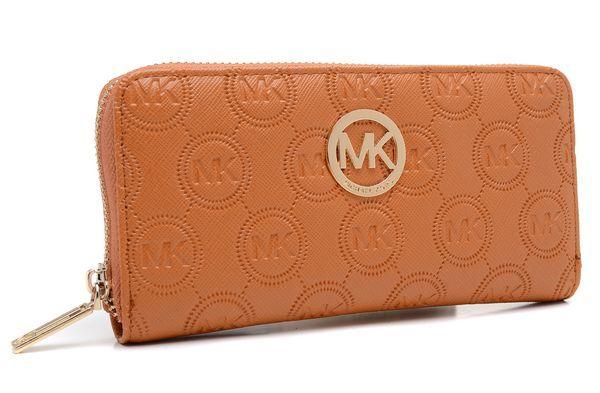 Michael Kors Monogram Embossed Zip Around Continental Wallet Brown
