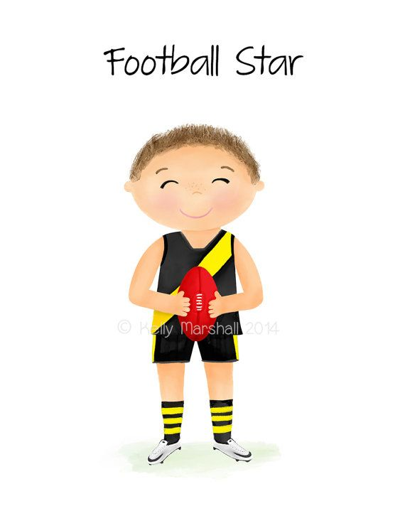 Children's Art Print...Little Boys room...AFL...footy player...football print... by SweetCheeksImages on Etsy
