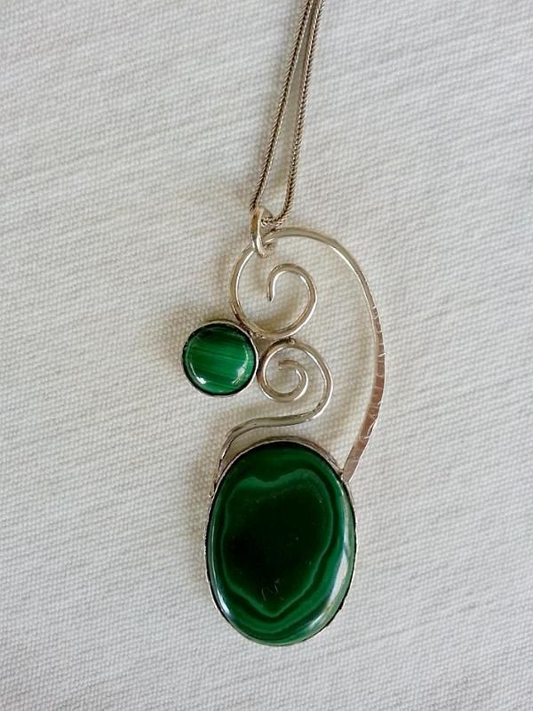 Malachite stone 925 sterling silver necklace,is made by Berrin Duma. SOLD