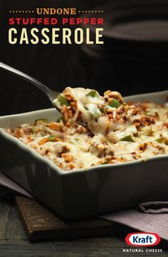 """Yep, we've all been a little undone by the """"What's for dinner tonight?"""" riddle. But now you can be done done with the Undone Stuffed Pepper Casserole. Ground beef, garlic, green pepper topped off with the just-right meltiness of KRAFT Shredded Italian 5-C"""