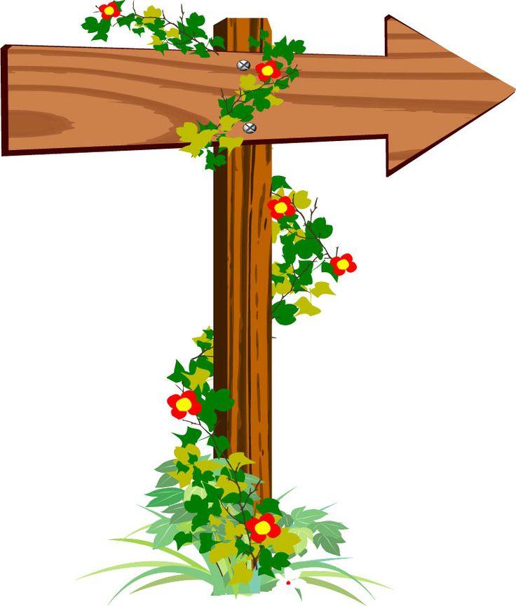 矢印イラスト素材「森の立て札 右」