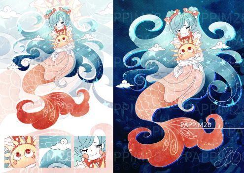 [Open]Adoptable Auction - Mermaid of The Sun by Pappim28