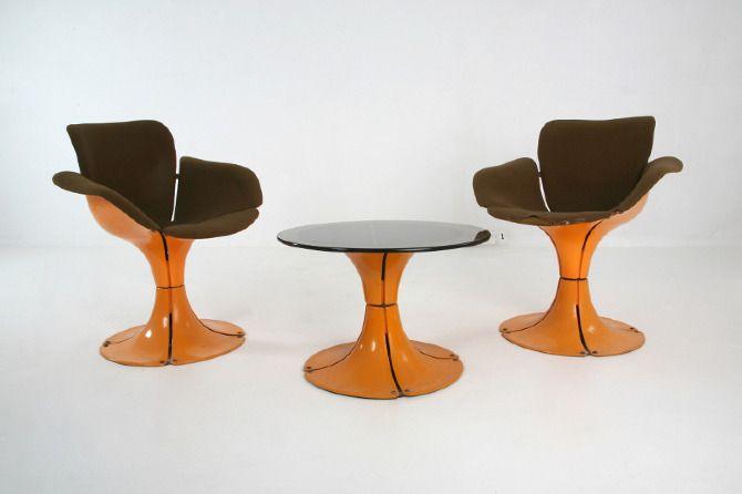 années 60, france, sièges, salon fleur, Jean Dudon