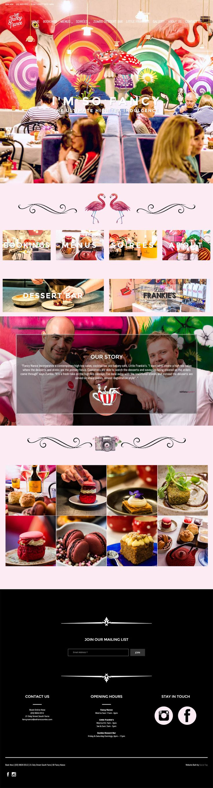 Website design for Adriano Zumbo's Fancy Nance Restaurant in Melbourne, VIC. Websites for Hospitality and Tourism, designed & built by SocialTap.com.au