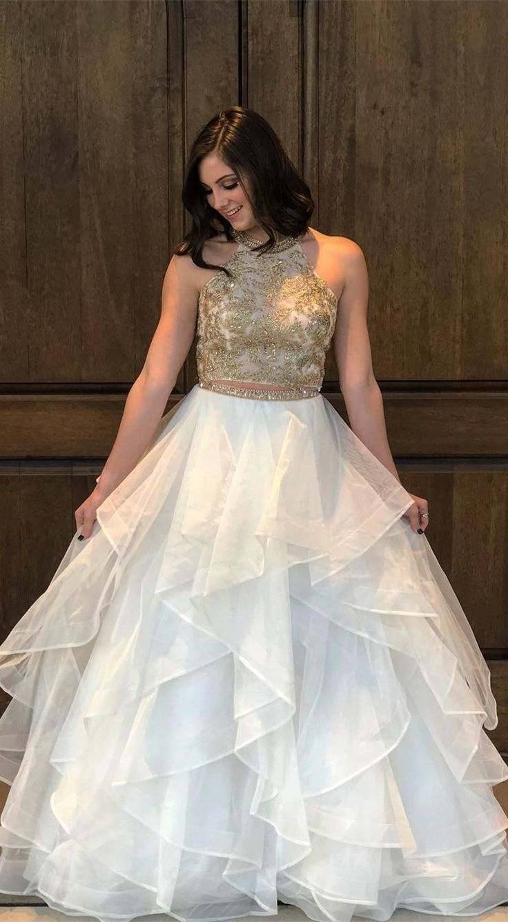 2018 two piece long prom dress, gold sequins and white prom dress, ball gown
