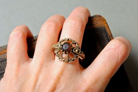 Vintage metal signet ring with glass rhinestones by Alchemyshop, $10.00