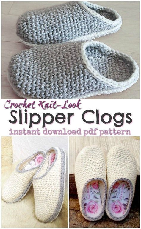 Super comfy and cute knit-look slipper clogs crochet pattern! I love the options…
