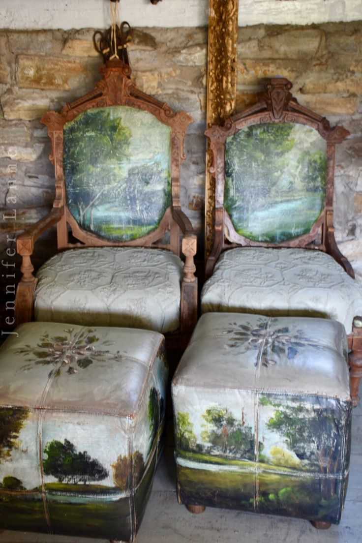 Hand painted chairs and ottomans. Jennifer Lanne