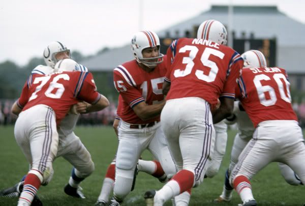 Jim Nance, Babe Parilli and the Boston Patriots match up against the NFL's Baltimore Colts in the 1967 pre-season.