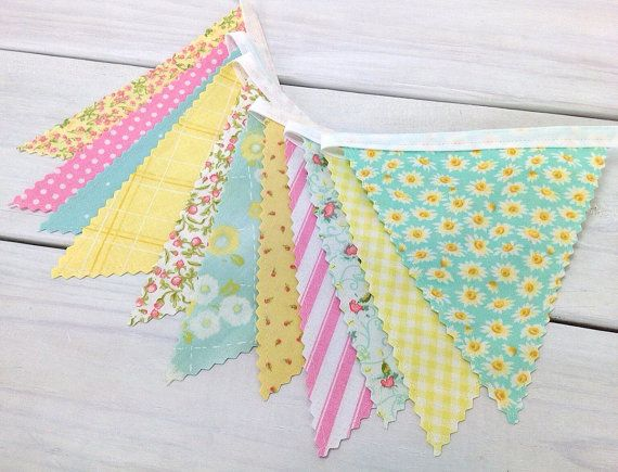 Sale 30% off Baby Bunting Fabric Banner Wedding by thespottedbarn