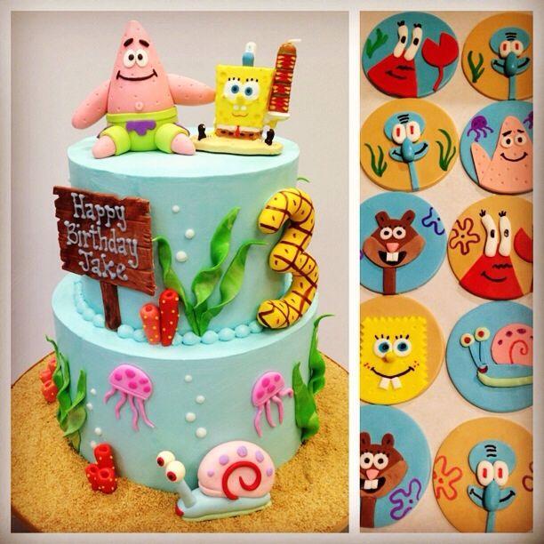 Spongebob Cake and Cupcake Toppers