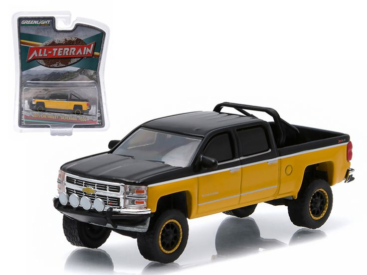 "2015 Chevrolet Silverado 1500 Black and Yellow Pickup Truck ""All Terrain"" Series 2 1/64 Diecast Model by Greenlight - Brand new 1:64 scale car model of 2015 Chevrolet Silverado 1500 Black and Yellow Pickup Truck ""All Terrain"" Series 2 die cast model car by Greenlight. Limited Edition. Has Rubber Tires. Comes in a blister pack. Detailed Interior, Exterior. Metal Body and Chassis. Officially Licensed Product. Dimensions Approximately L-2 1/2 Inches Long.-Weight: 1. Height: 5. Width: 9. Box…"