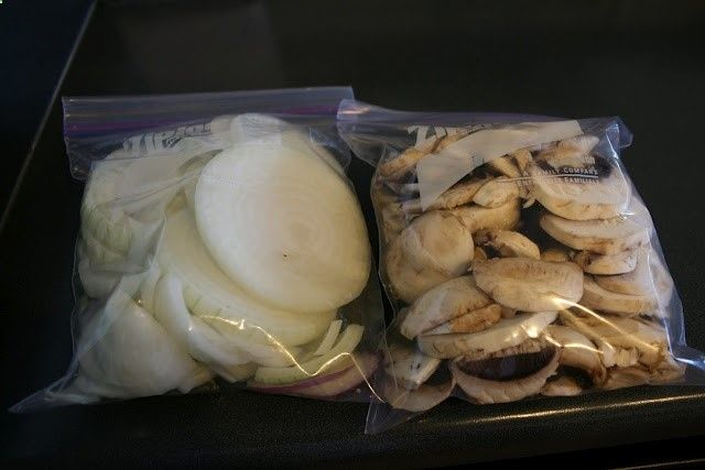 I will be bringing onions just like this. Less dishes to clean while camping if food is pre-sliced and ready for the grill in disposable packaging.