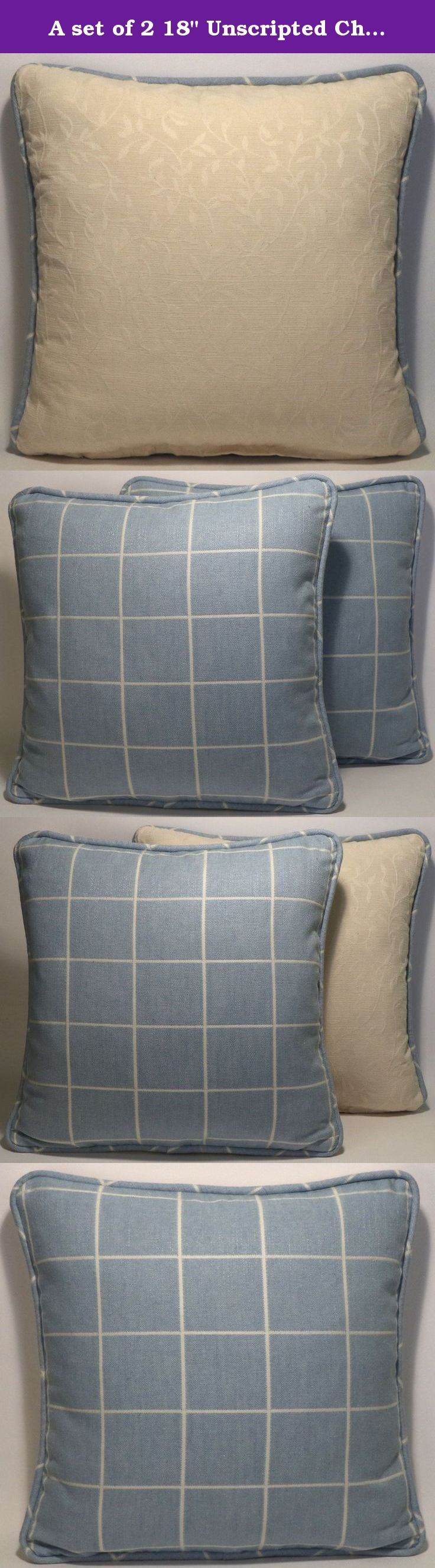 "A set of 2 18"" Unscripted Chambray Robert Allen Blue and Cream Check Designer Throw Pillows. Two 18"" square Designer Throw Pillows with fronts and welt made out of Unscripted Chambray Robert Allen geometric check blue and cream fabric.. The fabric is a linen, cotton, and polyester blend. The first photo shows the front of the pillows. The second photo shows the back of the pillows which are made with a cream fabric with a raised stitched vining leaf pattern. The edges of the pillows are..."