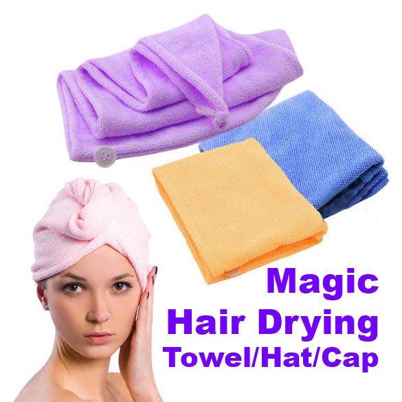 Hair-drogen Magic Sneldrogende Haar Handdoek Paardenstaart Houder Cap Handdoek Dame N Microfiber Haar Handdoek (Willekeurige kleur)