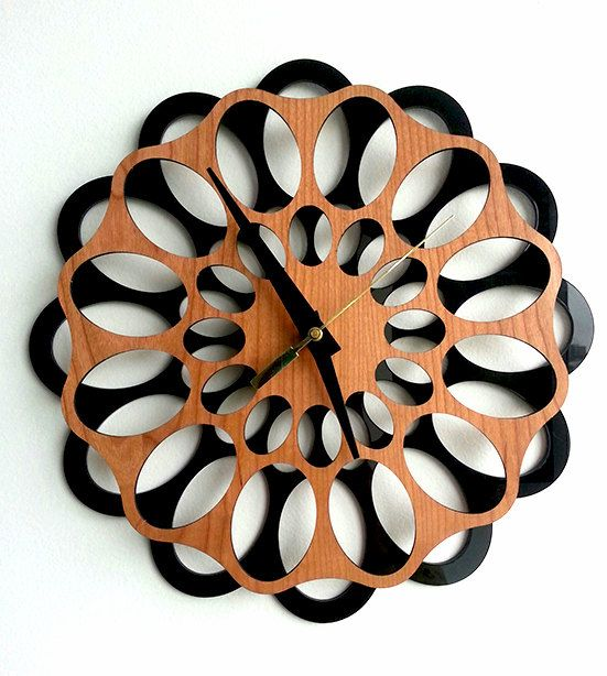 Wall Clock  Cherrywood and Acrylic by MabelDesignsAU on Etsy, $59.00