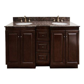Natural granite top 60 inch double sink bathroom vanity in dark walnut finish by legion for Best finish for bathroom cabinets