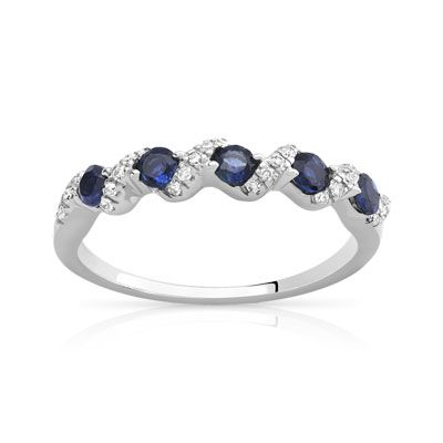 #BAGUE or 375 blanc saphir et diamant #MATY #Bijoux - www.maty.com