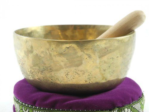 Tibetan Singing Bowl Set - 5th Chakra G (4.75 Inch) by Nepal Artisans. $84.95. From the Himalayan regions near Tibet, this bowl was created for local use, and left in its original imported condition. Hand hammered, old, and unpolished with wonderful hammer marks and beautiful patina. Multi-layered tone lasts as long as 3 minutes. Hand-made in a combination of 7 metals (gold, silver, mercury, copper, iron, tin and lead), which combine 7 distinct tones beautifull...