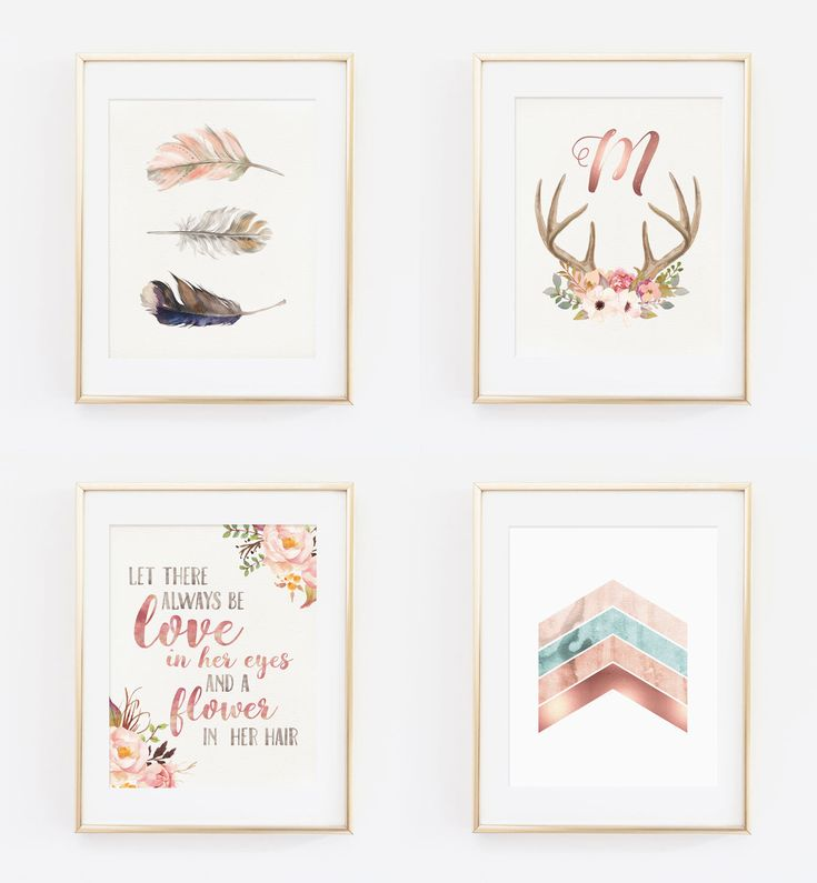 Nursery Art Set - Bohemian Baby || Rose Gold Foil Accent || Baby Girl Nursery ||  Baby Room Art || Tribal || Boho || Feathers || Antlers by LoveSupplyCo on Etsy https://www.etsy.com/listing/241632575/nursery-art-set-bohemian-baby-rose-gold