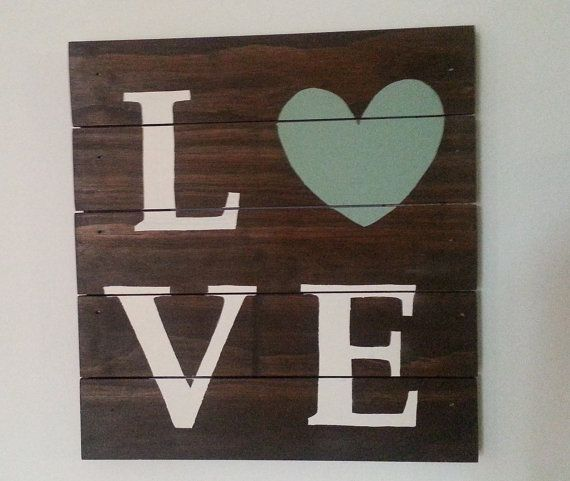Wood Love Sign - Wooden Pallet - 12 x 12 on Etsy, $53.05 CAD
