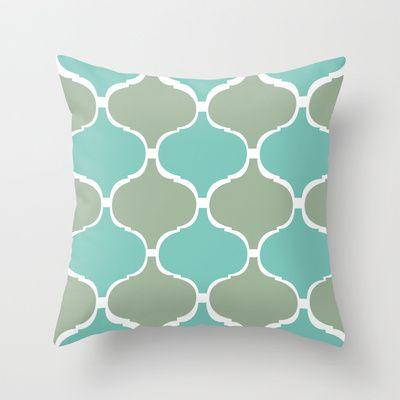 Marrakech Pattern Sea Green Throw Pillow by StickycakeInspirations - $20.00