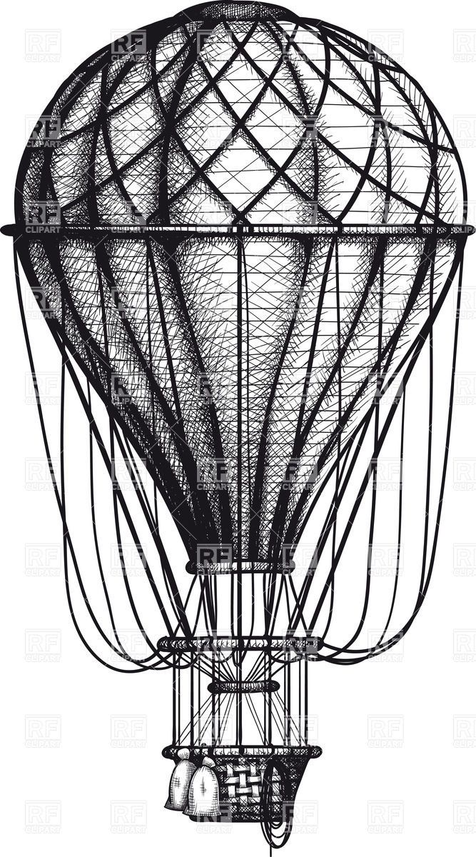 Vintage Hot Air Balloon | Vintage hand drawn engraving air balloon, 36844, download royalty-free ...