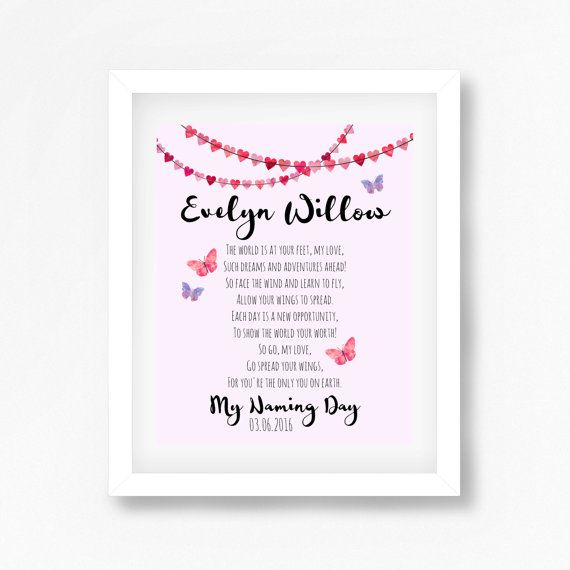 Naming Ceremony Gift, Naming Day Gift, Namind Day Poem, Baptism Gift for Goddaughter, Christening Print, Personalised Gift for Baby Girl | Baby J | Naming ...