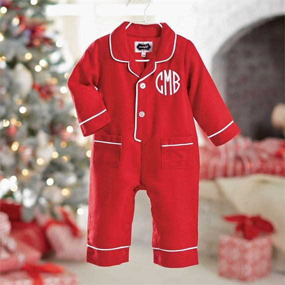 Infant Christmas pajamas monogrammed Christmas pjs by skkilby21