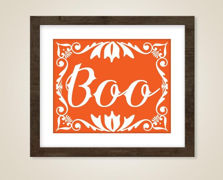 Halloween Modern Art Print   8 X 10 Poster   Boo Quote   Orange Halloween  Decorations