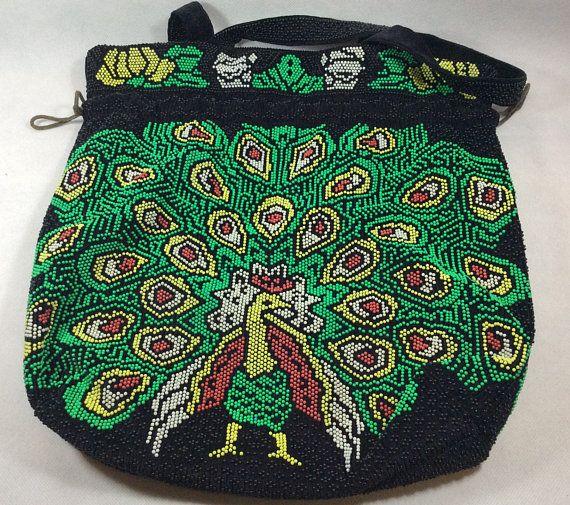 Vintage tote bag peacock purse beach bag beaded style
