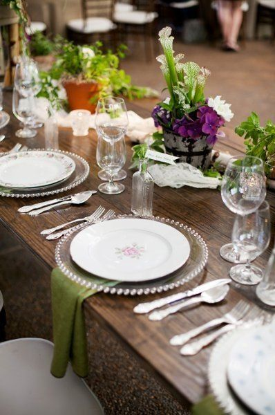 Table place setting ideas receptions wedding and for Place setting ideas