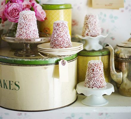 Give these French classics the British tea party treatment by baking the coconut sponges in a cone shape and serving with cherry jam glaze